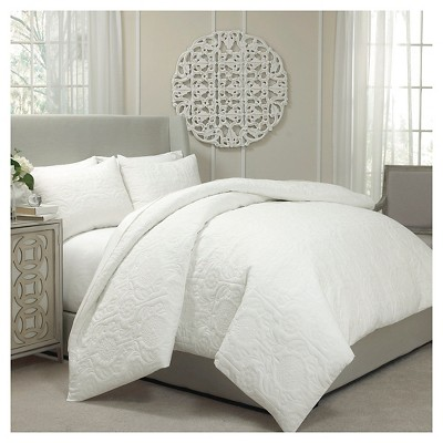 Vue Barcelona Quilted Coverlet and Duvet Ensemble -  Ivory (Queen)