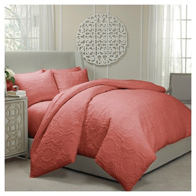Vue Barcelona Quilted Coverlet and Duvet Ensemble -  Coral (Queen)