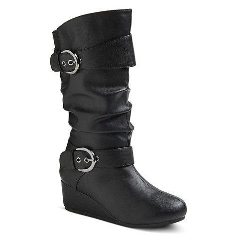 s fashion buckled wedge boots black target