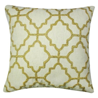 Gold Beaded Lattice Toss Pillow – Threshold™