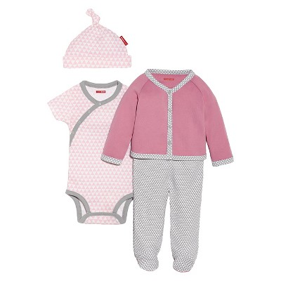 Skip Hop Newborn Girls' Long-sleeve' 4pc Welcome Home Set - Pink NB