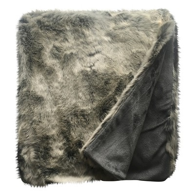 Threshold Grey Faux Fur Throw