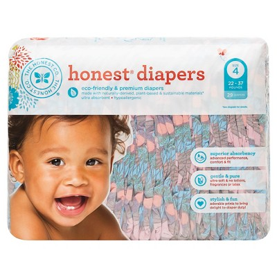 Honest Company Diapers, Butterfly Fields - Size 4  (29 Count)