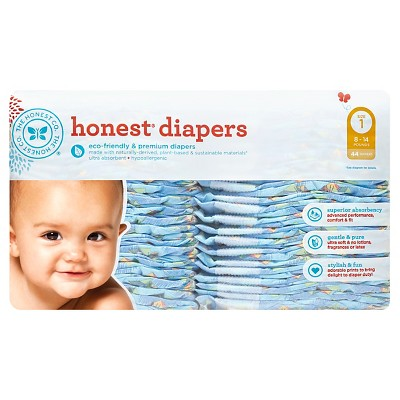 Honest Company Diapers, King of the Jungle - Size 1  (44 Count)