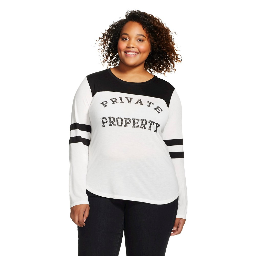 Plus Size Plus Private Property Long Sleeve Graphic Varsity Tee White - Jerry Leigh