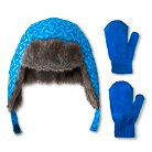 Toddler Boys' Paw Patrol Trapper Hat and Mittens Set Blue