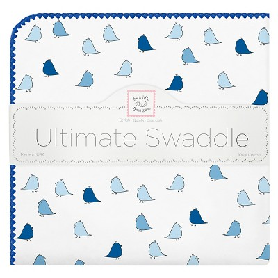 SwaddleDesigns® Ultimate Receiving Blanket - Little Chickies - True Blue