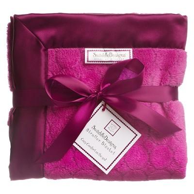 SwaddleDesigns® Fuzzy Stroller Blanket - Jewel Tones - Very Berry