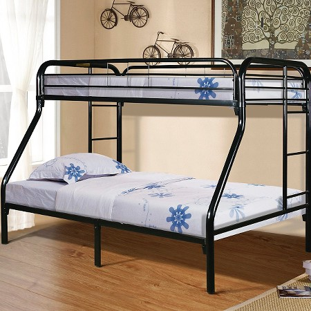 Bunk bed metal black twin over full powell company Black bunk beds