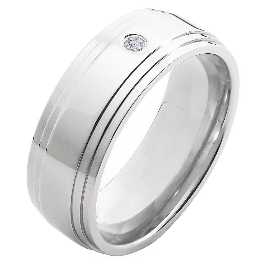 Men's Crucible 0.03 CT. T.W. Round Cut Diamond Stud Bezel Set Ring in Titanium (H-I-SI2), Size: 11, Silver
