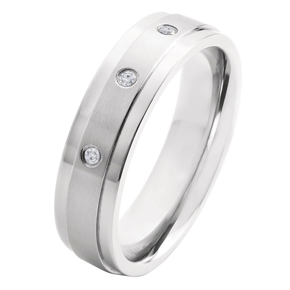 Men's Crucible 0.05 CT. T.W. Round Cut Diamond Stud Bezel Set Ring in Titanium (H-I-SI2), Size: 9, Silver