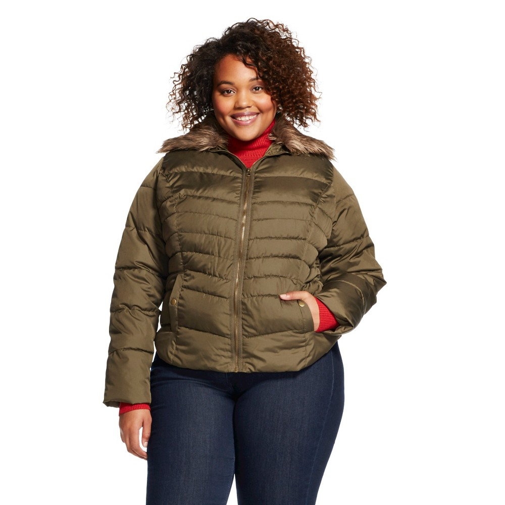 Plus Size Women's Plus Puffer Coat Olive Green - Mossimo Supply Co.