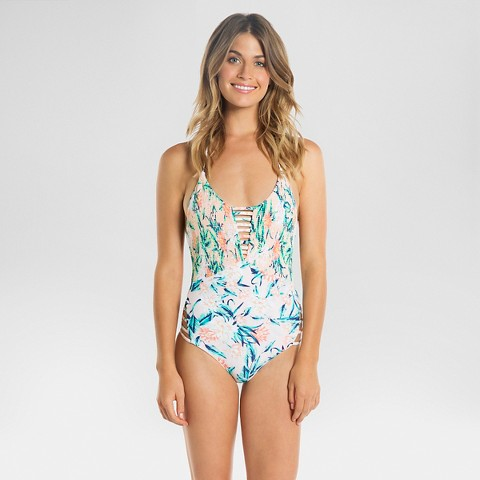 8f3c21665b19e Women s Floral Halter Strappy One Piece Swimsuit - Tori Praver Seafoam