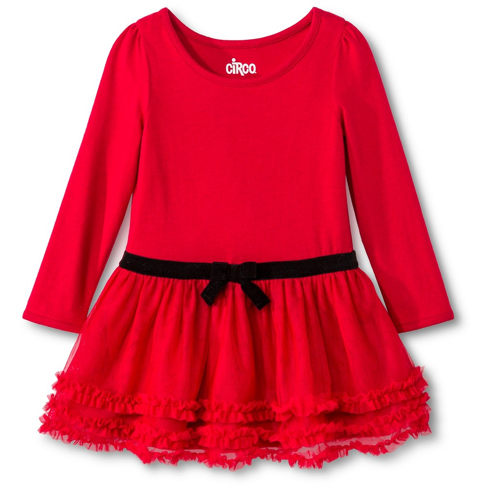 CIRCO TODDLER GIRLS LONG SLEEVE HOLIDAY DRESS RED HOT