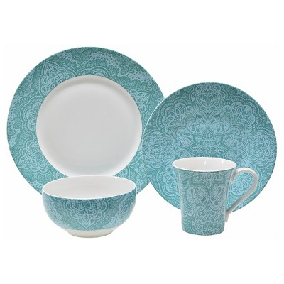 222 Fifth Augustine Teal 16 Piece Dinnerware Set
