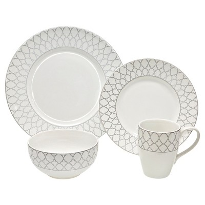 222 Fifth Deon Silver Mica 16 Piece Dinnerware Set