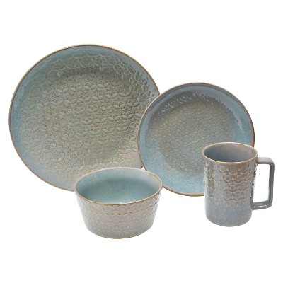222 Fifth Sakuya Lace 16 Piece Dinnerware Set - Turquoise