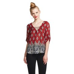 3Heart Printed Lace Up Top Wine/Navy