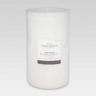 Threshold Fragrance Free White 7x4 Pillar Candle