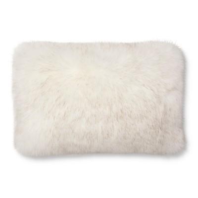 Threshold Decorative Pillow Fur Oblong White