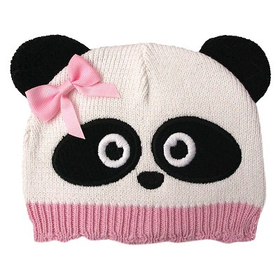 Newborn Girls' Panda Beanie White