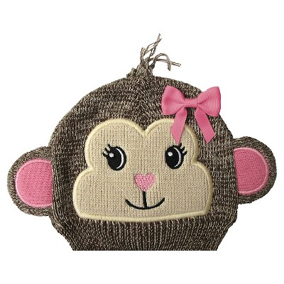 Newborn Girls' Monkey Beanie Brown