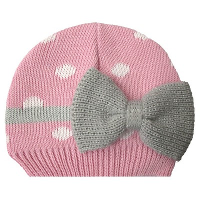 Newborn Girls' Polka Dot Bow Beanie Pink