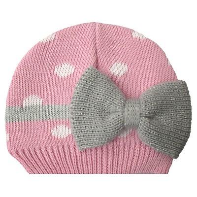 Newborn Girls' Polka Dot Bow Beanie Pink
