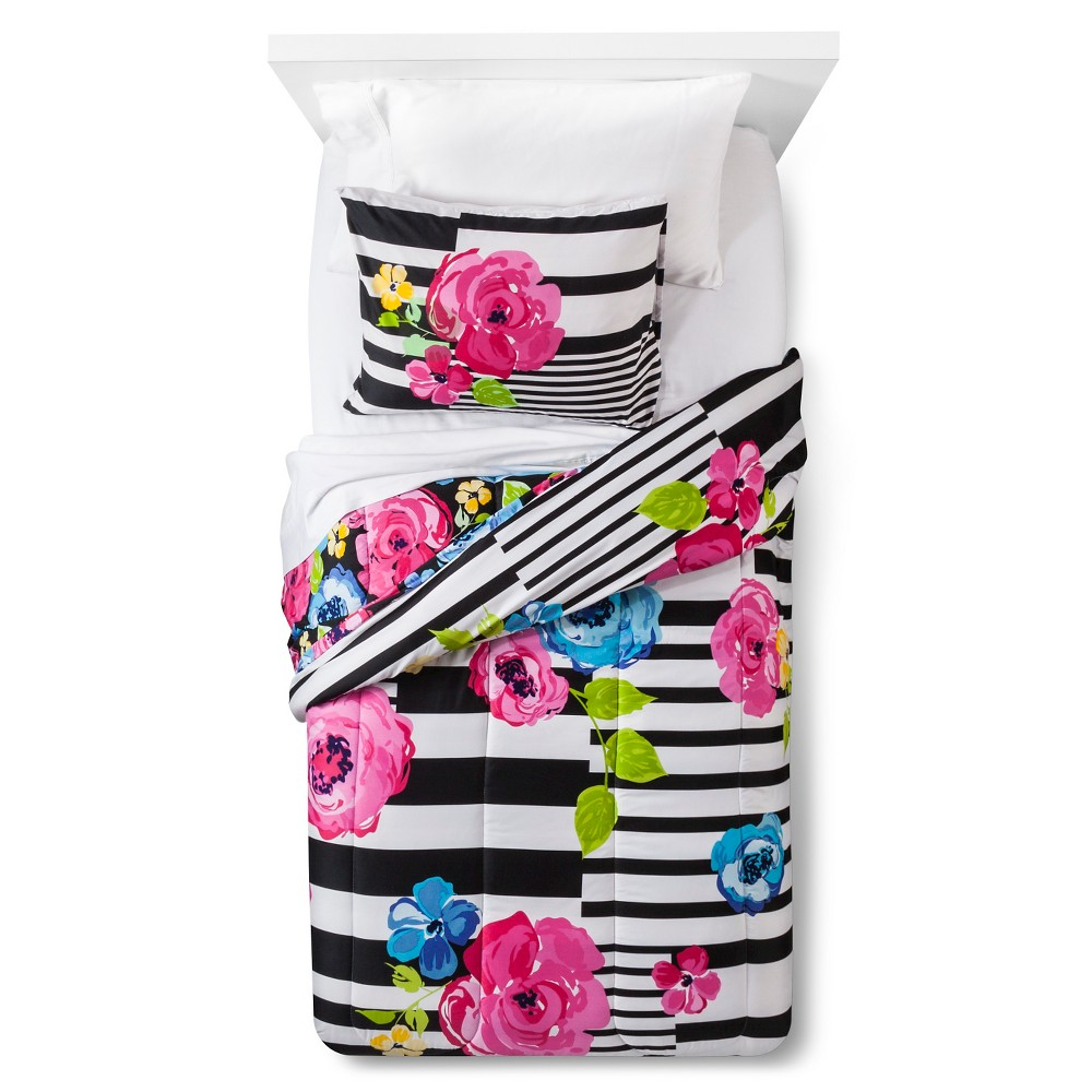 Floral Stripe Comforter Set - White/Black (Twin)