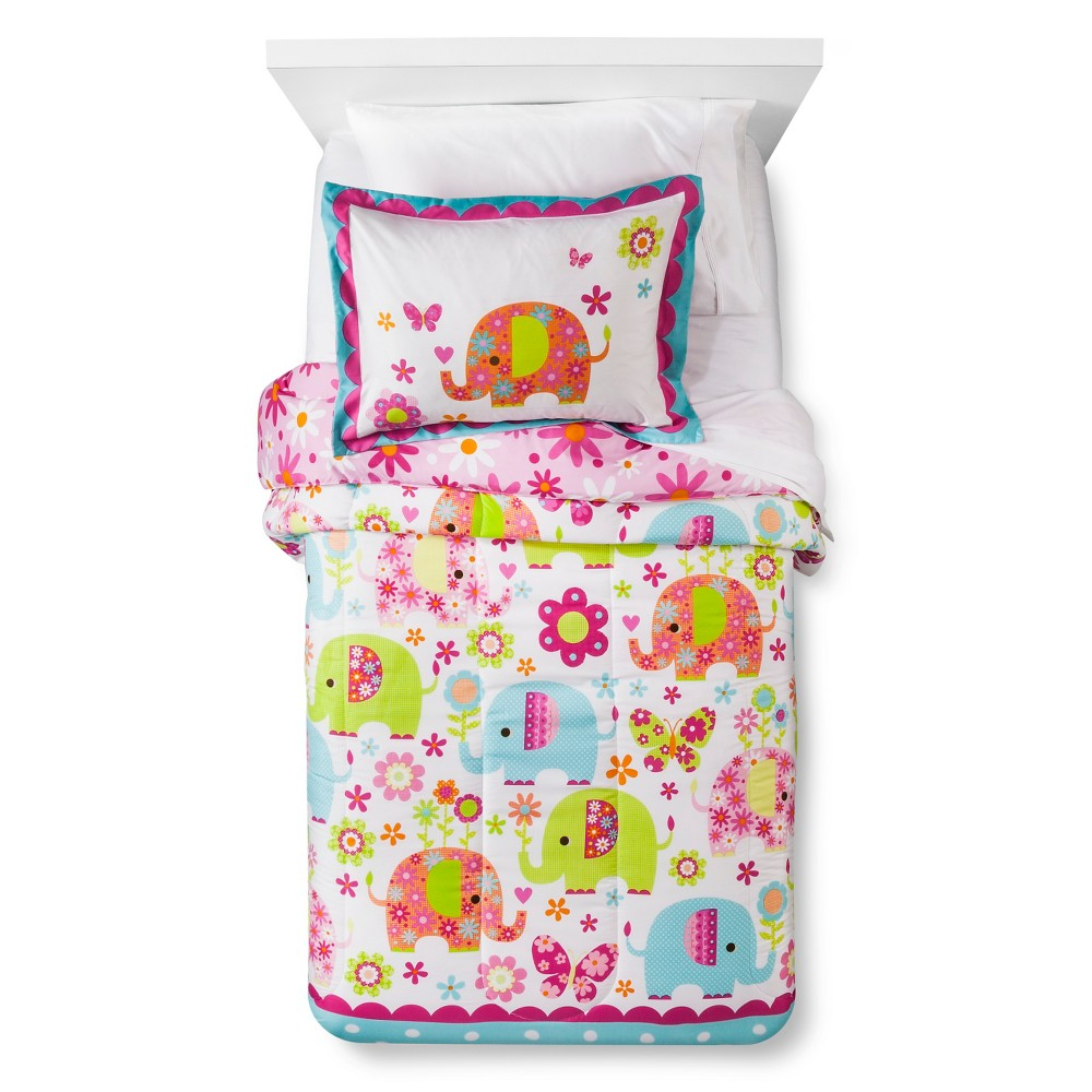 Elephant Floral Comforter Set - Multi-Colored (Twin)