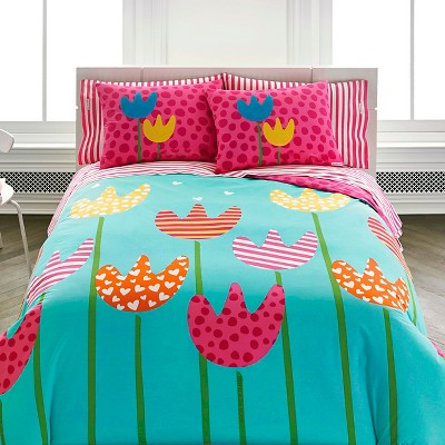Cutie Tulips Mini Comforter Set - Pink (Twin)