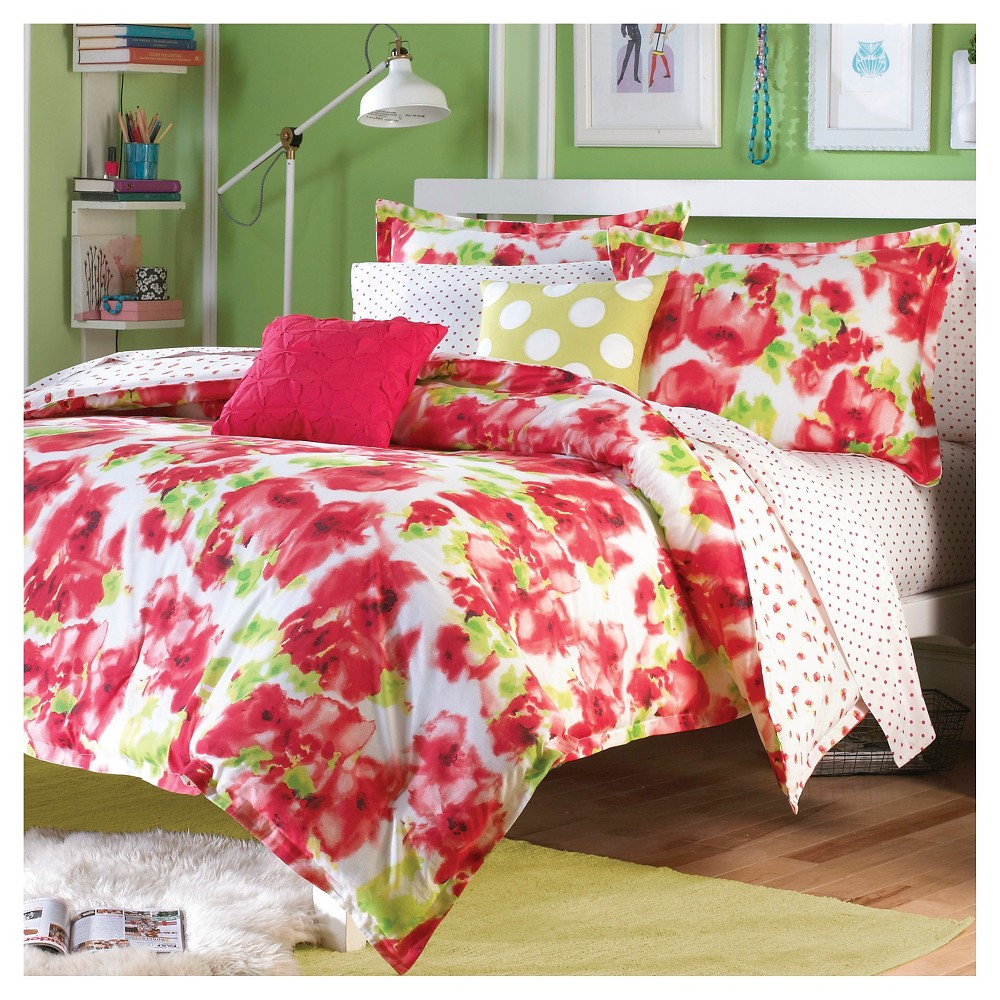 Painted Poppy Mini Comforter Set - Red (Full/Queen)