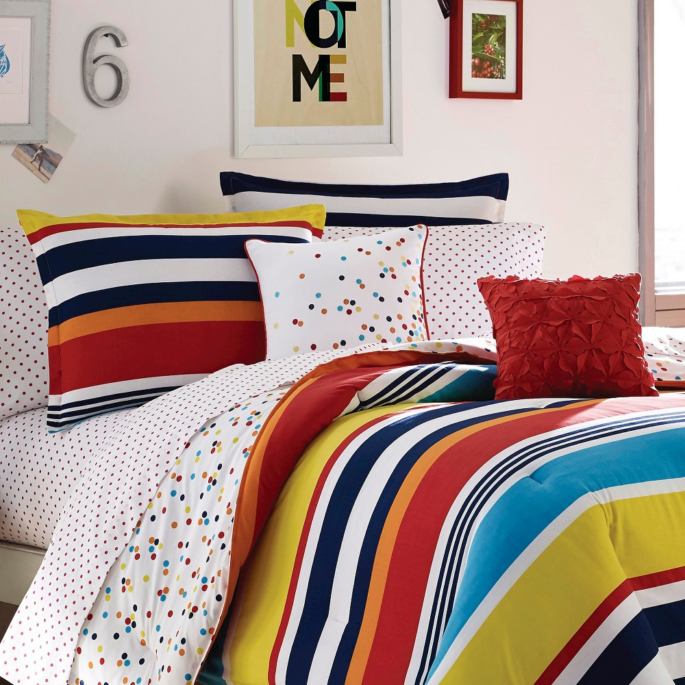 Dots And Dashes Mini Comforter Set - Multi-Colored (Full/Queen)