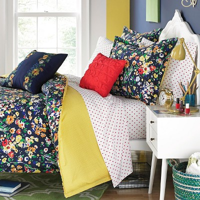 Folksy Floral Mini Comforter Set - Navy (Full/Queen)