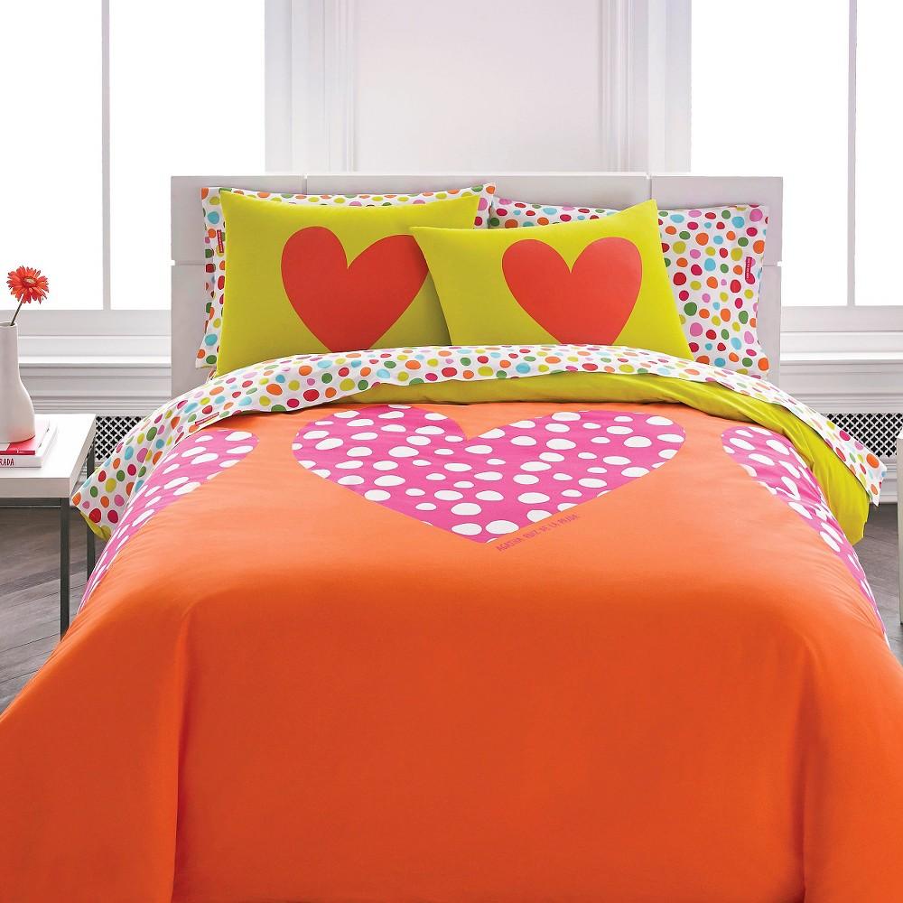 Polka Heart Mini Comforter Set - Orange (Twin)