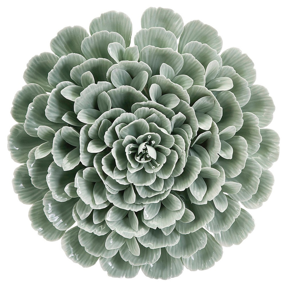 "Aurora Decorative Wall Sculpture - Beige/Pale Green (13.78 X 4.76 X 13.78"")"