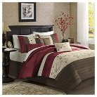 Monroe 6 Piece Embroidered Duvet Cover Set - Red (King/Cal King)