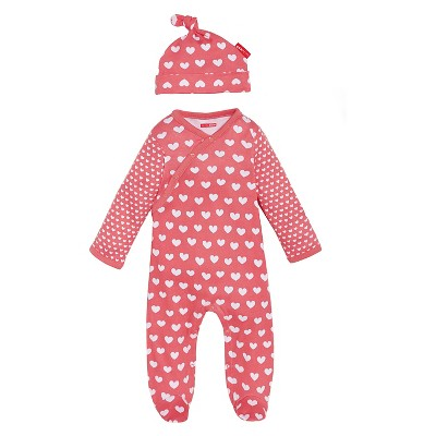 Skip Hop Newborn Girls' Long-sleeve' Side-Snap and Hat Set - Pink 6 M