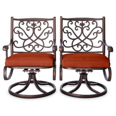 Folwell 2pk Cast Aluminum Swivel Dining Chairs Orange  - Threshold™
