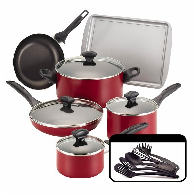Farberware 15Pc Cookware Set - Red