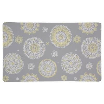 "Mohawk Floral Circles Grey Kitchen Rug - Gray (18""x30"")"