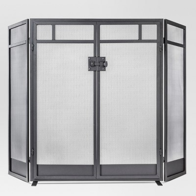 Threshold™ Mission Fireplace Screen - Matte Black Finish