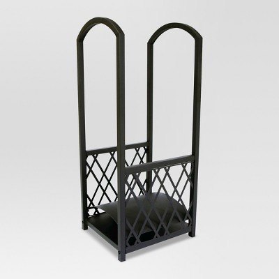 Threshold™ Lattice Large Fireplace Log Rack - Matte Black Finish