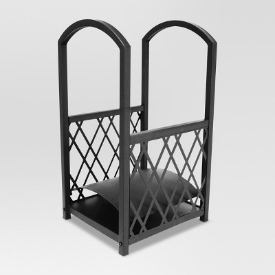 Threshold™ Lattice Small Fireplace Log Rack - Matte Black Finish
