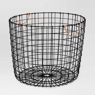 Threshold™ Wire Log Basket with Copper Handle - Matte Black