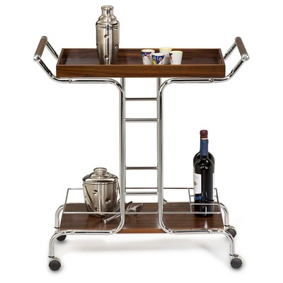 Favorite Finds Wine Serving Cart Metal/Cappuccino/Chrome - Leick Furniture