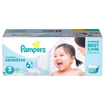 Pampers Swaddlers Sensitive Diapers Economy Pack Size 5 (88 Count)