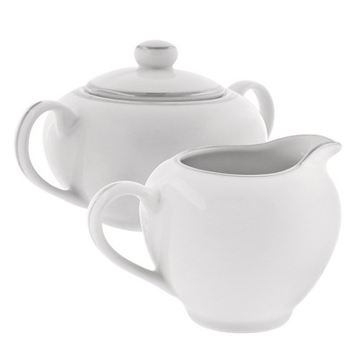 10 Strawberry Street Silver Line Creamer and Covered Sugar Set