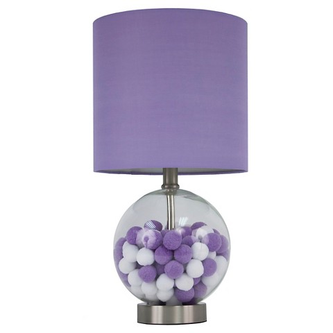 hunt glass and bronze finish table lamp purple white clear. Black Bedroom Furniture Sets. Home Design Ideas