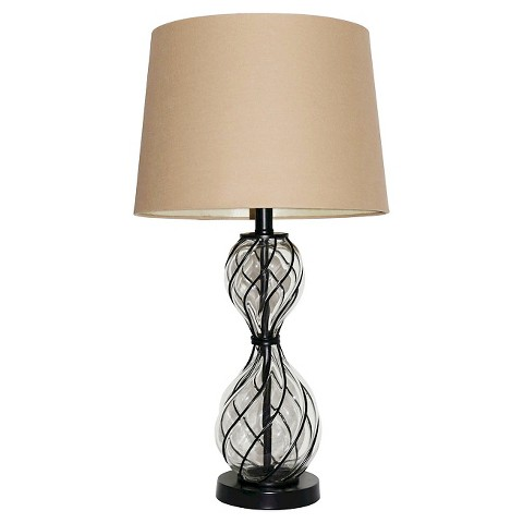 hunt table lamp bronze beige clear product details page. Black Bedroom Furniture Sets. Home Design Ideas